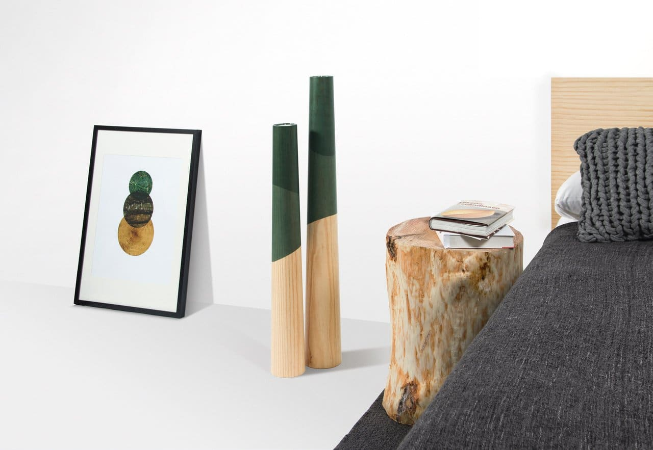 Etna floor candleholders green oak wood