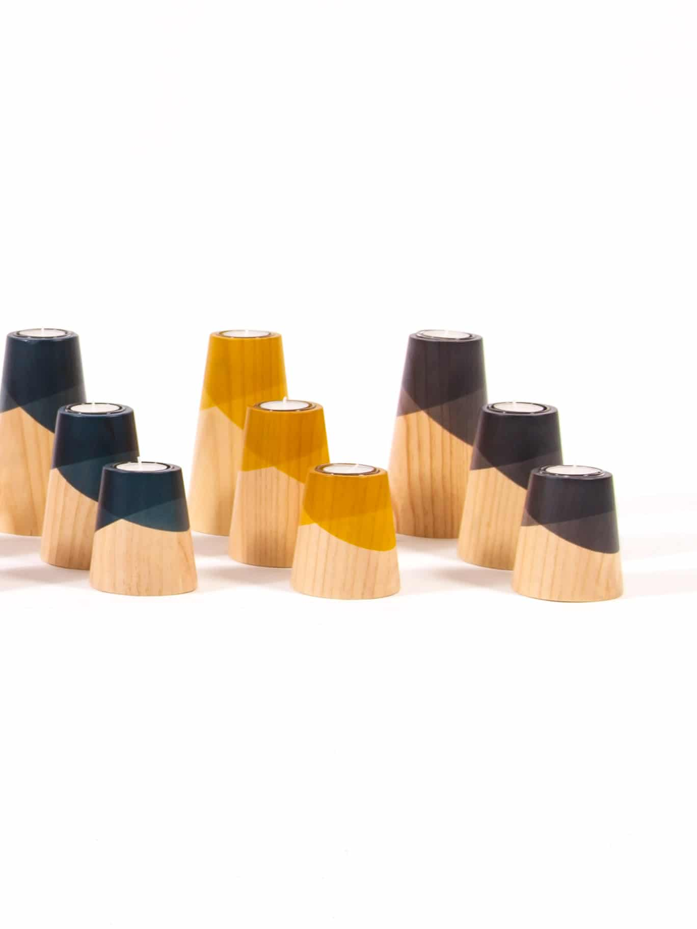 Etna mini candle holder set wooden